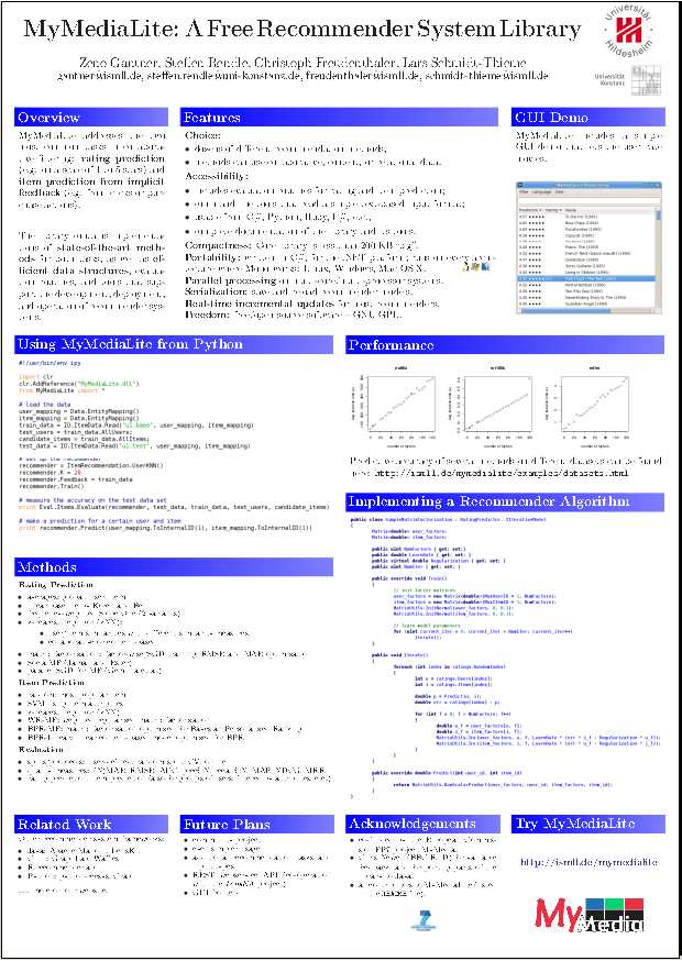 preview of the MyMediaLite poster at RecSys2011